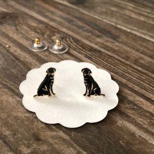 Jewelry - Black labrador enamel stud earrings